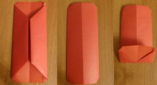 1469718660_perviy-sposob-4 Как сделать из бумаги кошелёк, портмоне, конверт для бумажных денег и мелочи своими руками? Как сделать волшебный кошелек из бумаги: схема с описанием