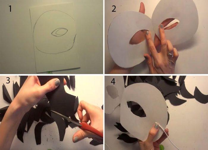 1527089412_cherniy-voron-iz-bumagi-2 Как сделать маску из бумаги своими руками. Маски на голову из бумаги — шаблоны, схемы. Как сделать объемную маску из бумаги