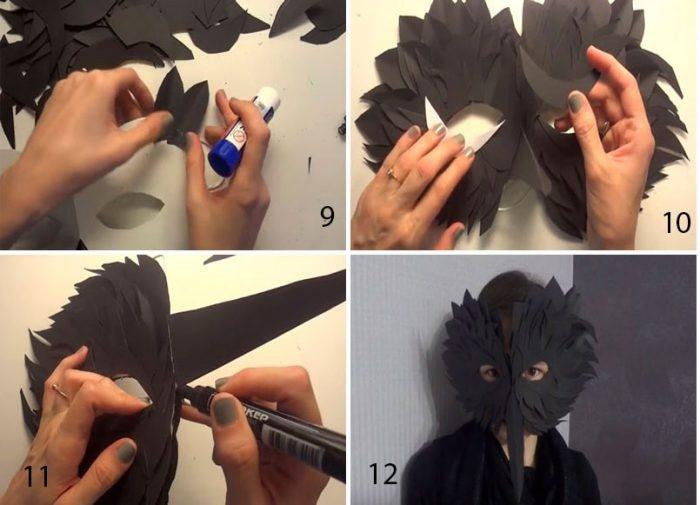 1527089460_cherniy-voron-iz-bumagi-3 Как сделать маску из бумаги своими руками. Маски на голову из бумаги — шаблоны, схемы. Как сделать объемную маску из бумаги