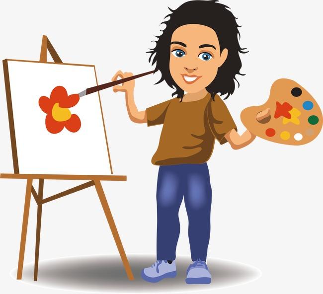 Человек рисует картинку